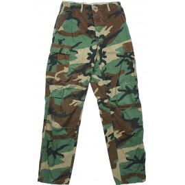 Kalhoty US - BDU ripstop Woodland / opravované vel. Small